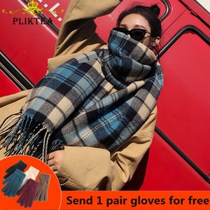 PLIKTEA 2020 Faux Cashmere manta Scarf por Mulheres lã quente inverno Xaile Feminino manta Poncho Ladies Grosso Tassel Lenços