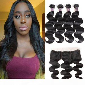 13*4 Lace Frontal With 4Bundles Peruvian Hair Extensions Brazilian Malaysian Indian Human Virgin Hair Bundles with Closure Body Wave