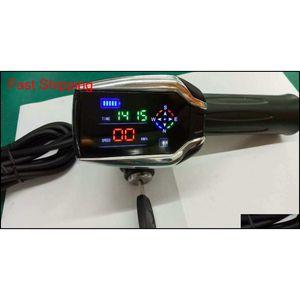 24V-72V Twist Throttle con pantalla LED y función GPS Acelerador de rodadura con mango de gas LockKey para bicicleta eléctrica Scooter JJ1HB