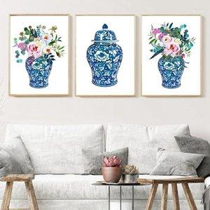 Bouquets de gingembre Bouquets Aquarelle Chinoiserie Décor Toile Imprimer Floral Botanical Affiche Oriental Vase Roses Peinture Porcelaine Jar1