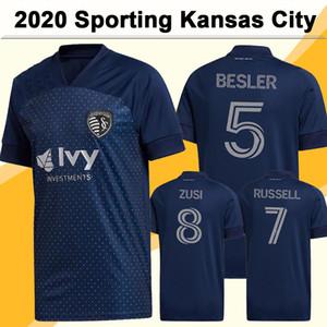 20 21 Sporting Kansas Mens футбол для футболки Новый Рассел Пулидо Герсо Голубая футболка Builda Busio с коротким рукавом.