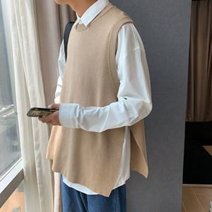 Autumn Korean Pullunder Männer beiläufige Art und Weise O-Ansatz gestrickte Pullover Männer Wilde lose Weste Stricken Pullover Herren Kleidung M-3XL