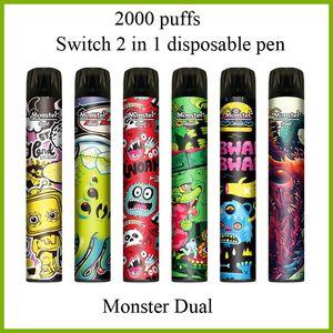 Monster Dual Switch 2 в 1 2000 УДАПИСА Одноразовые Vape Peag с 6.0ML POD 6 цветов Доступные одноразовые устройства DHL бесплатно
