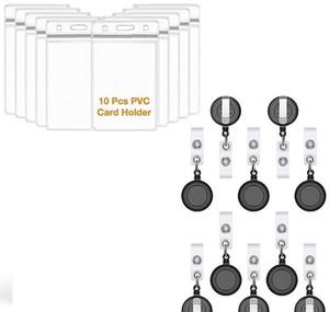 Retractable Reel Id Badge Card Holder + Double Sided Vertical Clear Id Pass Holder Bulk Kit. Nylon Ba jllJCJ jjxh