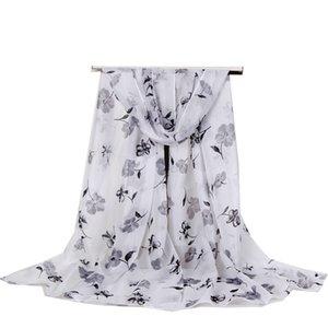 160 * 50 NUEVO Moda de mujer Impresión florial Georgette Long Wrap Shawl Beach Seda Bufanda Gradient Color Factory Wholesale