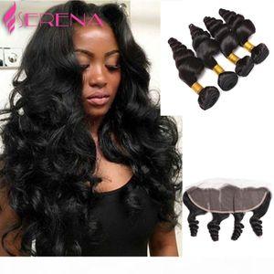 Brazillian Hair Bundles With Closure Brazilian Virgin Hair Loose Wave 4 Bundles with Closure 7a Grade Lace Frontal Closure