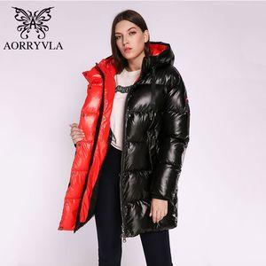 AORRYVLA Nueva chaqueta para mujer de invierno caliente grueso largo Puffer capa del algodón Mujer Parkas chaqueta informal la manera del invierno de las mujeres con capucha 201008