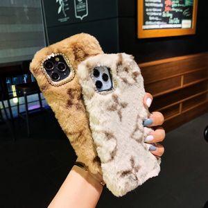 겨울 럭셔리 세련된 따뜻한 부드러운 인공 모피 플러시 핸드폰 케이스 여성 여자 패션 보호 휴대 전화 커버 아이폰 12 프로