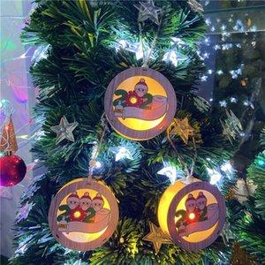 3 style lumières de Noël ornement bois de Noël lumières de Noël LED chaîne suspendue pendentif personnalisé ornements de Noël DHB2555