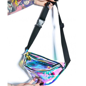 Laser PVC Transparent Waist Bag Fashion Sport Waist Bags Unisex Waterproof Chest Bag Rainbow Hologram PU Metallic Fanny Packs DBC DH1096
