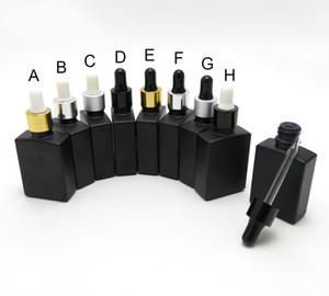10PCS / LOT 30ML noir mat carrés Huile Essentielle bouteilles en aluminium Dropper Dropper Cap 201013
