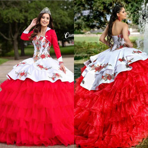 Red Ball Gown Quinceanera Dresses With Jacket Puffy Skirt Embroidery Sweet 15 Dress Tulle Custom Made Pageant Prom Dress