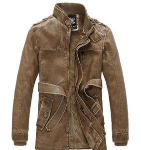 Sonbahar Kış Erkek Tasarımcı Ceket Çok Cep Yıkama PU Biker Ceket Fermuar Standı Yaka Erkek Giyim