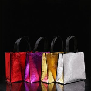 Fashion Foldable Shopping Bag DIY Non Woven Plated Gold Silver Tote Bags Waterproof Cloth Handbag 2 6bl G2