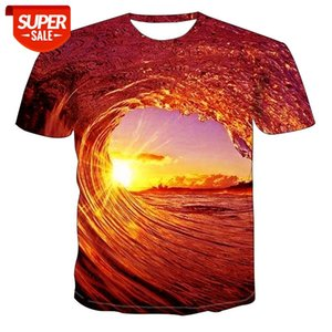 3d sunset afterglow wave digital printing summer European and American tops round neck short sleeve unisex #4W07