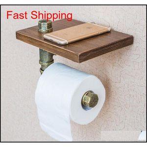 Vintage Wood Paper Holders Bathroom Shelves Industrial Retro Iron Toilet Paper Holder Bathroom Hotel Roll Tissue Ha qylffg toys2010