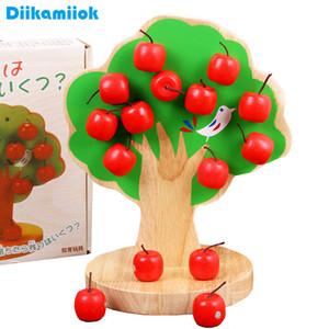 뉴 키즈 몬테소리 나무 퍼즐 자석 사과 나무 어린이 대화 형 게임 장난감 아기 과일 교육 수학 장난감을 선택