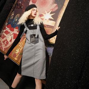 ELFSACK Casual Houndstooth British Women preppy Robe Strap, 2020 ELF Automne poche vintage coréenne Femme Style vestimentaire quotidien