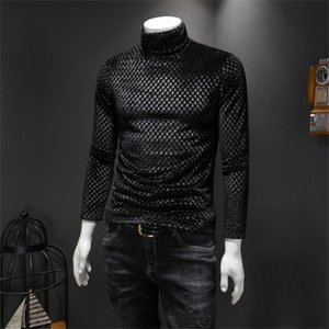 2019 Winter velvet double layer brushed and thick turtleneck T-shirt Slim casual T-shirt IAFU