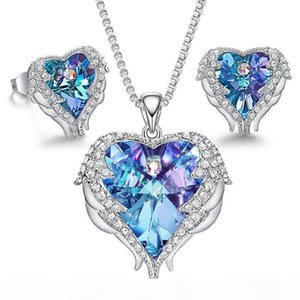 Luxury Designer Jewelry Women Necklace Crystal Heart Earrings Iced Out Pendant Engagement Wedding Set Bling Diamond Girl Fashion Statement