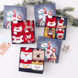 Sonbahar ve kış pamuk kırmızı çoraplar üç boyutlu karikatür tüy iplik Noel çorap sevimli tüpü çorap hediye kutusu