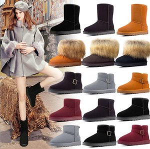 2PCS Snow boots new plus velvet thick winter women shoes leather warm snow shoes women winter snow boots Half wool boots Knee boot