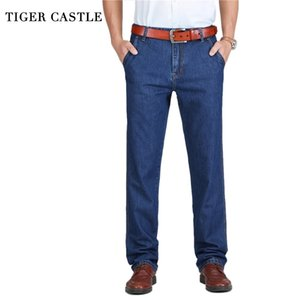 TIGER CASTLE 100% хлопок весенние летние мужчины джинсы легкие классические джинсовые брюки мужчина промытый мешковатый синий дизайнерские причинные джинсы мужчина 201111