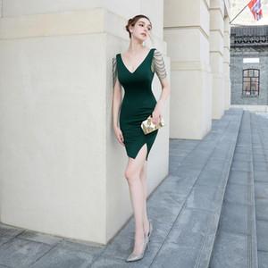 Belleza-Emily rebordear vestidos de noche corto atractivo 2020 para la mujer cóctel del partido del vestido del vestido de noche de la etapa vestidos del partido Celebración