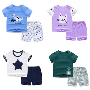 Baby short sleeve suit cotton girls boys summer clothes toddler sets children kids T-shirt cheap stuff dinosaur for 0-6Y