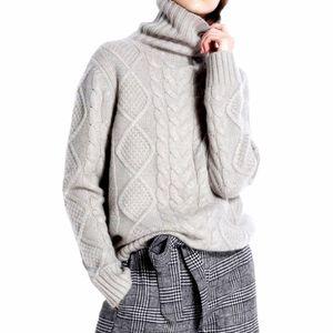 Tailor Sheep Turtleneck Suéter Mujeres Invierno Puentes de Cashmere Lana Punto Inferior Femenino Manga Larga Gruesa Twist Flow Pullover 210203