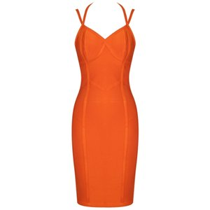 Hot Sale Deer Lady Women Celebrity Bandage Dress 2019 Summer Halter Bodycon Bandage Dress Orange V Neck Sexy Evening Party Dress Club