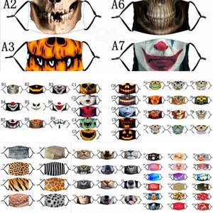 geometry resuable mask printed Leopard Christmas dustproof outdoor cycling skull mouth cover halloween for kids adult FF