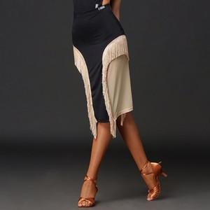 New Professional Latin Dance Skirt Sexy Mesh Fringe Slit Skirt Female Ballroom Samba Practice Clothes Training Skirts DWY4283