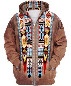 Tessffel Indienne Culture indigène Harajuku Casual Coloré Tracksuit Nouvelle mode 3DPrint Unisexe Sweat à capuche / Sweats à capuche / Zipper Hommes Femmes S-4