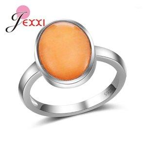Jexxi di alta qualità semplice S90 argento anello dito con finiture ovali ovale opale da donna accessori gioielli1