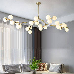 Post Modern LED Chandelier fission Branches Style Glass Balls Ceiling Lamp Living Room Dining Room Bedroom Lighting Fixtures