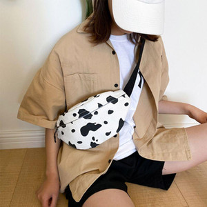 Women Cartoon Cow Print Waist Bag Fanny Pack Pouch Canvas Sport Belt Hip Chest Crossbody Shoulder Purse