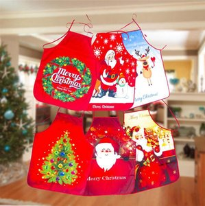 Christmas Aprons Santa Claus Snowman Printing Aprons Dinner Party Decor Home Kitchen Cooking Bake Cleaning Apron DDA713