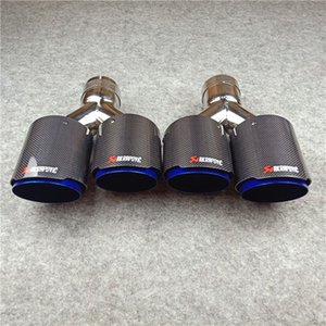 one pair: Y Model Universal Exhaust Dual Tips Glossy Carbon fiber+ Blue Stainless steel Car Akrapovic Exhaust Dual Tail Tips