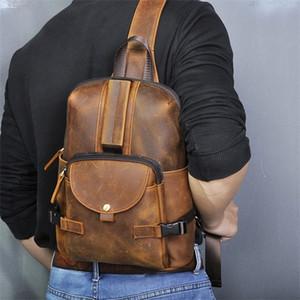 Erkekler Orijinal Çılgın At Deri Günlük Moda Crossbody Göğüs Sling Tasarım Seyahat Bir Omuz Çantası Sırt çantası Erkek C1009 3028-db