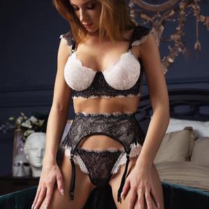 Set Mulheres Babydoll lingerie de renda Bra + g-string Sex Panties Lingerie Sexy Hot Erotic Pijamas sutiã vermelho