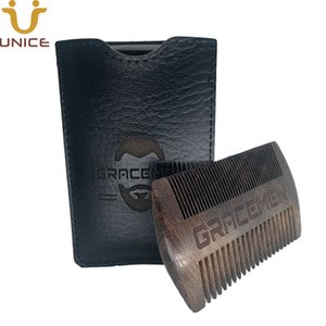 Amazon Hot Sale MOQ 100pcs Custom LOGO Premium Handmade CHACATE PRETO Wood Wide & Fine Tooth Comb for Beard Hair With Leather Case