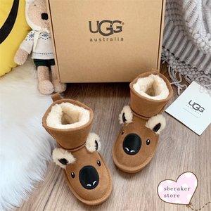 Новый 2020 Snow Boots Водонепроницаемый Детская обувь маленький монстр Честнат Koala застегнутом серии Winter Plush Детская обувь Размер 25-34 VRT #
