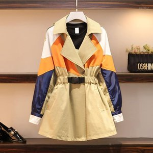 [EWQ] 2020 Spring Autumn New Plus Size Women's Long Sleeve Windbreaker Sweet Turn-down Collar Patchwork Trench Coat Outerwear1