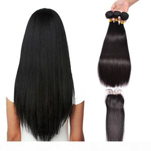 Brazilian Indian Straight Virgin Human Hair Weaves With Closure Unprocessed Brazilian Remy Hair Bundles And Lace Closures