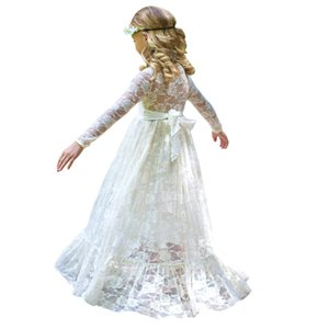 2 - 12 Yrs Girl Lace Long Dress With Sweet Big Bow 2019 New Long Sleeve Flower Baby Kids Princess Wedding Prom Party White beige Y19061501