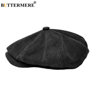 BUTTERMERE Octogonale Cap Hommes Noir Coton Newsboy Cap Homme Marque British Designer Gatsby Chapeaux Painter Printemps Eté Duckbill Hat