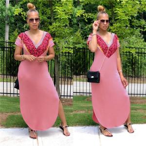 Loose Casual Long Skirt Women Slit Dress Fashion Trend Elegant Outfits Short Sleeve V-neck High Waist Dress Designer Female