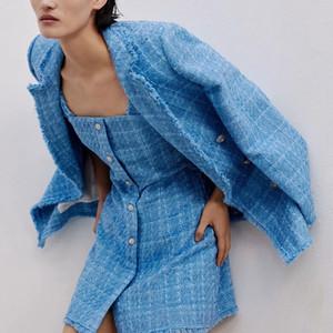 ZXQJ tweed women elegant blue blazers fashion ladies vintage loose blazer jackets casual female streetwear suits girls chic 201012