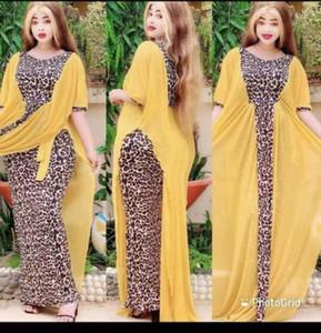 Tilapia Fashion 2021 여름 여성 Maxi Long African Patchwork 드레스 시폰 Batwing Leopard Femme Vestidos